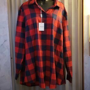 Haute Edition 2X red blue flannel shirt